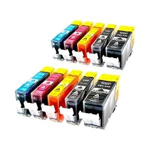 10 x kompatible XL Tintenpatronen mit CHIP & Füllstandanzeige für Canon ersetzt: 2x PGI 520 und je 2x CLI 521
