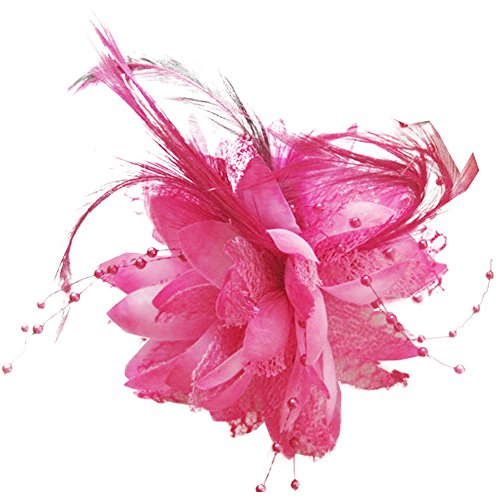 SZTARA Wedding Bridal Hairpin Vintage Women Silk Flower Fancy Feather Bead Lace Party Cocktail Hair Accessory
