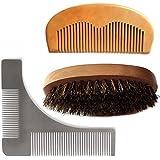 Magik Barbe Moustache Cheveux Visage & Cou Entretien Styling Vivog forme aide Tool Kit brosse peigne (Brosse + Peigne + modèle)