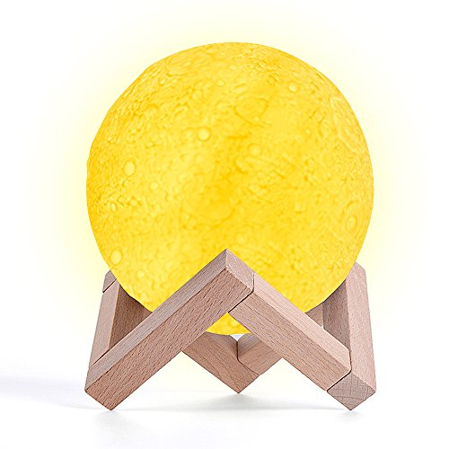 Mondlampe, BASEIN 3D Printing Moon Light Lampe warm und kühl Mond Mond Nachtlicht Touch Control mit...