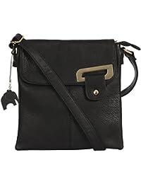 Big Handbag Shop Womens Medium Trendy Messenger Cross Body Shoulder Bag With a Branded Protective Storage Bag and Charm