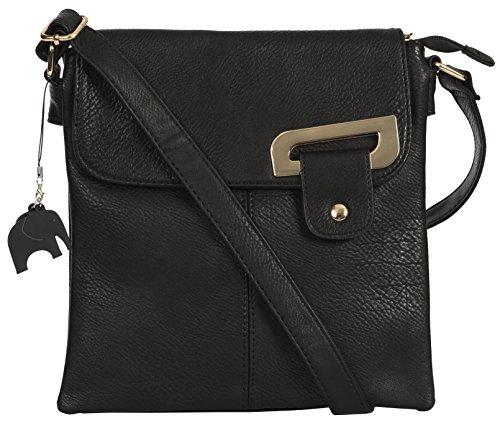 Big Handbag Shop Damen Medium trendige Messengertasche, Umhängetasche mit einer Markenschutz-Aufbewahrungstasche und Anhänger, Schwarz - Gold Trim - Black - Größe: Medium (Trendige Shop Handtasche)