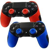 DOTBUY Silicone Case Denso Metà Custodia Protettiva per PS4 x 2 + 4 Controller analogico puntina manopole Cap (Red,Blue)