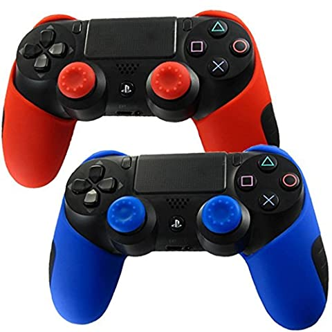 Silicone Cover for PS4 Controller - Stillshine Soft Protection Thicker Half Skin Case for PlayStation 4 PS4/ SLIM/ PRO DualShock Controller Set (Red Blue Skin X 2 + Thumb Grip X