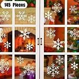 ASANMU Fensterdeko Weihnachten, 145 Weihnachtsdeko Fenster Fensterbilder Schneeflocken Fensterbild für Winter Weihnachts Fensterdeko Statisch Haftende PVC Aufkleber Weihnachten für Schaufenster Türen