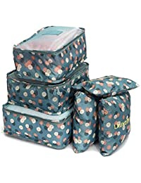 Clothsfab Polyester, Nylon And Leather Waterproof Blue Floral Travel Garment Bag Women Storage Bag For Bra Socks...