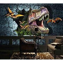 BZDHWWH Nuovo 3D Dinosauri Da Parati Murale Carta Da Parati Completa Adesivi Murali Stampa Home DecorJurassic Park Foto Wallpaper,312Cm (W) X 219Cm (H)