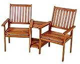 VARILANDO Doppelsessel mit Tisch und Schirmhalterung aus geöltem Eukalyptus Gartensessel Gartenstuhl Sitzgruppe 2-Sitzer