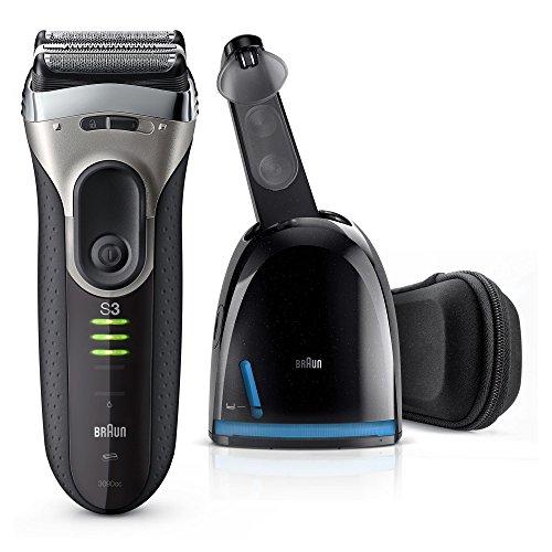 Braun Series 3 Elektrischer Rasierer 3090cc, mit Reinigungsstation Clean&Charge, schwarz/grau
