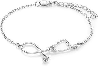 GUAngqi Stethoscope Bracelet Fashion Medical Jewelry Gift for Nurse Doctor,White K