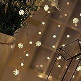 Prevently LED Schneeflocke Lichterkette Kupferdraht Batterie Lichter Drahtlichterkette Fee Hochzeit Schlafzimmer Patio Dekoration (3 Meter 30 Lichter)