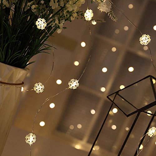 flocke Lichterkette Kupferdraht Batterie Lichter Drahtlichterkette Fee Hochzeit Schlafzimmer Patio Dekoration (2 Meter 20 Lichter Taste) ()