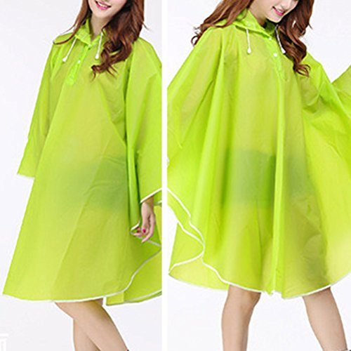 Zhhlinyuan Adult Portable Reusable Hooded Waterproof Rainwear Rain Poncho green