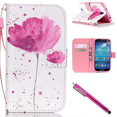 Galaxy S4 Hülle, Tasche Ledertasche Flip Beutel Haut Slim Fit Bumper Schutz Magnetisch Schließung Stehening Soft SchutzHülle Weich Silikon Cover Case Schale für Samsung Galaxy S4