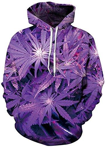 Imbry Herren Slim Fit Hoodie Long Sleeve Kapuzenpullover 3D Druck Muster Sweatshirt Pullover (L/XL, Ahornblatt - lila) Lila Sweatshirt Hoodie