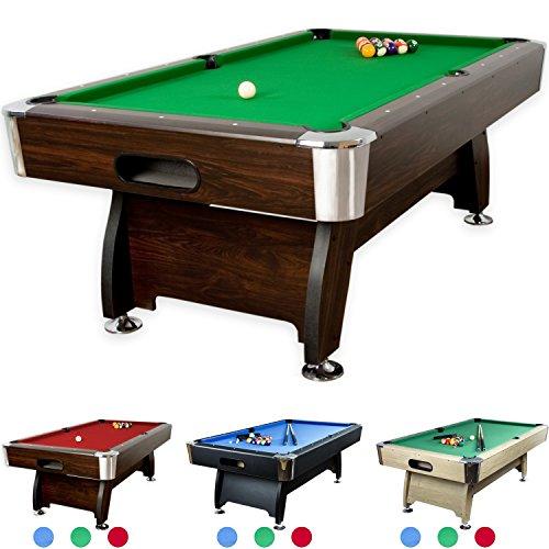 """7 ft Billardtisch """"Premium"""" + Zubehör, 9 Farbvarianten, 214x122x82 cm (LxBxH), dunkles Holzdekor, grünes Tuch"""