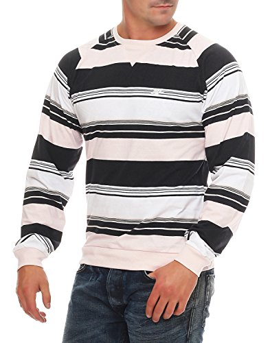 Nike Fusion Yarn Dyed Striped Herren Crew Neck, Schwarz/Hellrosa/Weiß, M (Dyed Yarn Striped Shirt)