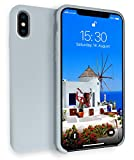 MyGadget Hardcase Hülle [Gummiert] für Apple iPhone X - Schutzhülle Case mit Soft Touch Silikon Finish - Slim Schutz Back Cover Stoßfest in Matt Babyblau