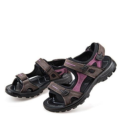 n Sandalen,Sommer Outdoor Sport Sandalen Flach Wasser Schuhe Verstellbare Klettverschluss Gemütliche Barfuß-Gefühl Wanderschuhe - Schwarz Braun Weiß ()