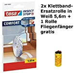 tesa Insect Stop COMFORT Fliegengitter für Fenster/Insektenschutz Klettband-Ersatzrolle in Weiß (2 Ersatzrollen mit 5,6 m) + 1 Rolle Fliegenfänger gratis