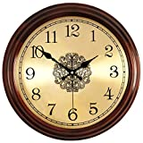 @Reloj de Pared Reloj de pared Sin tictac Operado a batería Números romanos clásicos Dormitorio Cocina Sala de estar Decoración Europeo Retro Madera Silencio Relojes de cuarzo Reloj de pared analógico