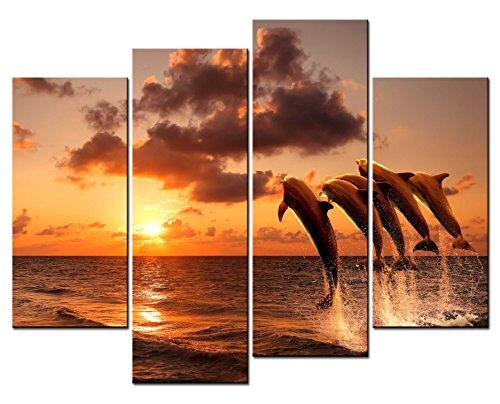 smartwallart-Tier Gemälde Art Wand einige Delfine Sprung auf das Meer unter Sonnenuntergang 4Panel Bild Kunstdruck auf Leinwand für moderne Zuhause Dekoration