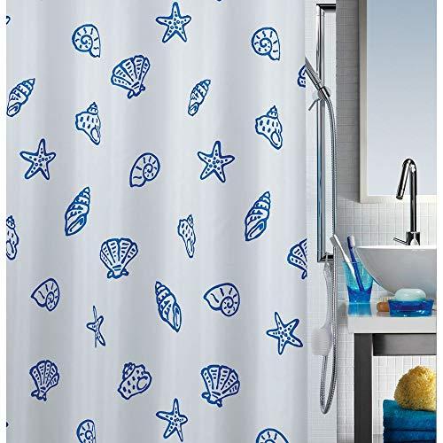 ne Textil-Duschvorhang Polyester 240x200 cm weiß/blau ()