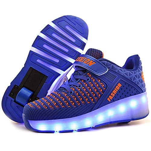 LHWAN Kinder leuchtende Licht Roller Schuhe Einzel/Doppel Rad Skate Sneaker Usb Lade Zyklus Rollschuhe Led Flashing Bunte Fitness Sport Outdoor Schuhe,Blue1,38EU -