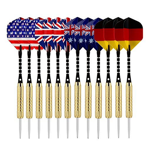 Sametop-18-Grams-12-Packs-Steel-Tip-Darts-Set-with-Diffferent-Style-Flights-Aluminum-Shafts-Brass-Barrels-and-Dart-Sharpener