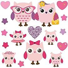 GET STICKING DECOR® Búho Lindo/ Corazón/ Estrella Pegatinas De Pared/ Calcomanías Colección, PinkyFamily Owls.1, Vinilo Removible Brillante, Multi Color. (Medium)