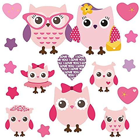 GET STICKING DÉCOR® Mignon, Hibou/ Cœur/ Étoile Stickers Muraux/ Autocollants Collection, PinkyFamily Owls.1, Vinyle Amovible Brillant, Multicolore. (Medium)