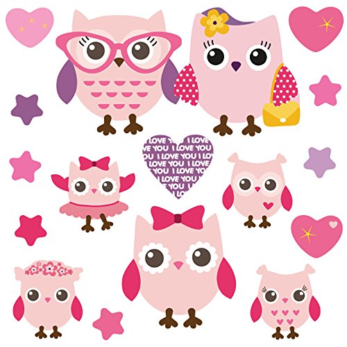 GET STICKING DÉCOR® Niedliche Eule/ Herz/ Stern Wandtattoo, Wandsticker Kollektion, PinkyFamily Owls.1, Glänzend Herausnehmbar Vinyl, Multi Farbe. (Medium)