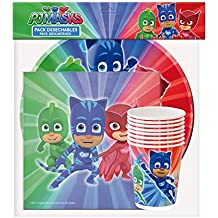 ALMACENESADAN 0491, Pack Desechables PJ Masks para Fiestas y cumpleaños; 8 Platos 23 cm