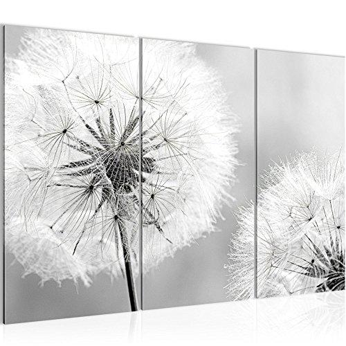 Bilder Blumen Pusteblume Wandbild 120 x 80 cm Vlies - Leinwand Bild XXL Format Wandbilder Wohnzimmer Wohnung Deko Kunstdrucke Grau 3 Teilig - MADE IN GERMANY - Fertig zum Aufhängen 207131c