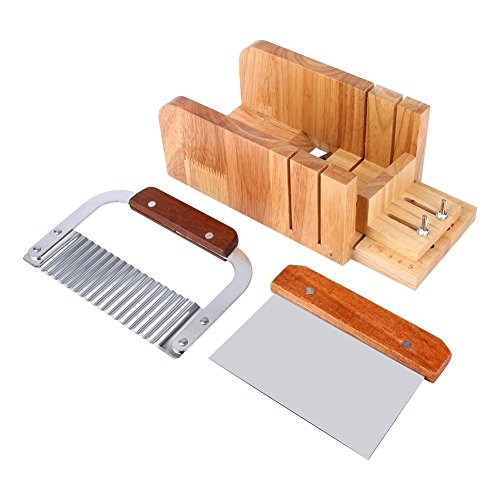 Zerodis 3PCS Soap Mold Loaf Cutter Set, Wood Soap Loaf Mold + Stainless Stee Straight Soap Cutter + Wavy Cutter Home Kitchen Tool Set