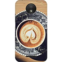 AMEZ Moto C Plus Printed Cover for Moto C Plus Designer Printed 3D Premium high Quality Back case Cover (Heart Coffee Cappuccino Cup Light Table)