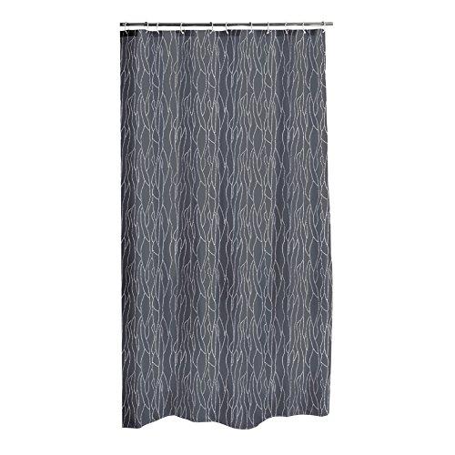 Dynamic24 Duschvorhang 180x200cm Textil Badewannenvorhang mit Glitzerapplikationen (Grau)