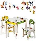 alles-meine.de GmbH 3 TLG. Set: Sitzgruppe für Kinder - aus sehr stabilen Holz - weiß -  lustige Zootiere  - Tisch + 2 Stühle / Kindermöbel für Jungen & Mädchen - Kindertisch -..