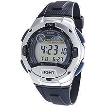 CASIO Quarz W-753-2AVES - Reloj de caballero de cuarzo, correa de resina color azul claro (con cronómetro, alarma, luz)