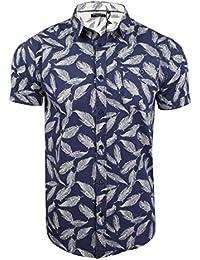 Brave Soul Mens Hawaiian Leaf Print Shirt Antonio' Short Sleeved