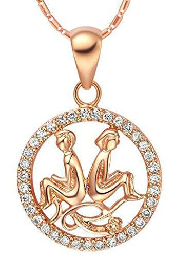 AMDXD Schmuck Herren Damen Kette Rosegold Vergoldet 12 Sternzeichen Kette mit Zwillinge Anhänger Halskette Rose Gold Kette 50-60CM