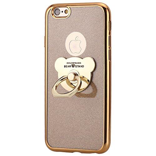 Kompatibel mit iPhone 6S 4.7 Handyhülle, Herbests Luxus Glitzer Kristall Bling Glänzend Schutzhülle Durchsichtig Handytasche Silikonhülle mit Bär Ring Fingerhalterung Ständer,Gold