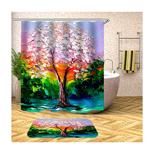 ANAZOZ Duschvorhang+Badematte Set Wasserdicht Waschbar Badewanne Vorhänge Anti-Schimmel Polyester Malerei Badzimmer Teppich Bunt 150X180CM A1309