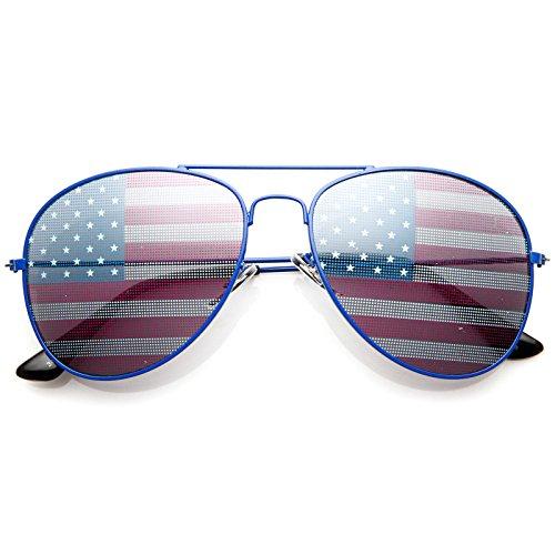 zeroUV Amerikanische Flagge Usa Klassische Teardrop et al Flieger-Sonnenbrille 1 M Blau
