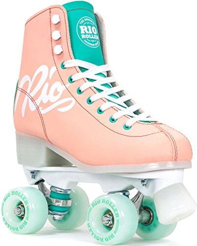 Rio Roller Script Retro Rollschuhe Disco Roller pfirsich peach/green, 39.5