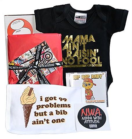 Lil Gangsta bébé Boîte Cadeau Mama Noir et Or Body, bavoir 99problèmes. Hiphop Musique CD & vinyle