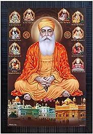 Shree Handicraft Poster of Ten Sikh Gurus Guru Nanak Ji Painting Photo Frame Painting Wall Mount (49 cm x 34 c