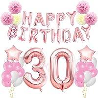 KUNGYO Decoraciones de Feliz Cumpleaños #30- Oro Rosa Happy Birthday Bandera - Gigante Número 30 y Estrella de Helio Globos, Cintas, Flores de papel Pom, Globos de látex, Fuentes Elegantes del Partido para las Mujeres
