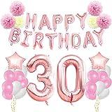 KUNGYO 30 ème Anniversaire Décorations Kit-Rose Or Happy Birthday Bannière- Géant Numéro 30 et étoiles Hélium Foil Ballons, Rubans, Papier Pom Fleurs, Ballons en Latex, Fournitures de fête pour Femmes