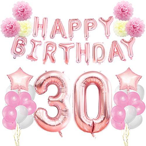 KUNGYO Decoraciones de Feliz Cumpleaños 30 Oro Rosa Happy Birthday Bandera Gigante Número 30 y Estrella de Helio Globos Cintas Flores de Papel Pom Globos de látex